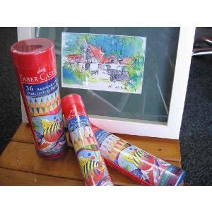 水彩色鉛筆丸缶36色セット/筆付/FABER-CASTELL/ファーバーカステル/TFC-115936/シャチハタ|s-bunkadou