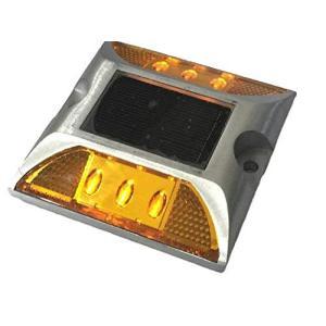 ソーラー LED ライト 常時点灯 防水 道路鋲 夜間自動点灯 強力両面テープ付き (イエロー2個セット)|s-frontier