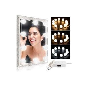 Reuyer 女優ライト 化粧鏡ライト メイクアップライト led鏡用ライト 省エネ 10個LED電球 三色調光 明るさ5段階調整|s-frontier