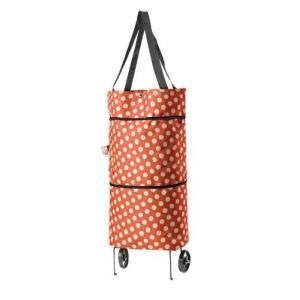 【ノーブランド品】 軽いキャスター付き ショッピング キャリーバッグ (オレンジドット)