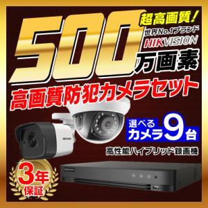 防犯カメラ 屋外 屋内 500万画素 監視カメラ 選べる 9台 16ch レコーダー セット HDD別売 HD-TVI FIXレンズ 赤外線カメラ 遠隔監視|s-guard