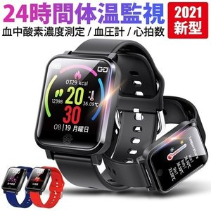 2021年新型 2個セット パルスオキシメーター 機能付きスマートウォッチ  体温計機能付き 血中酸素濃度計 血圧 iphone android 対応  腕時計|s-label