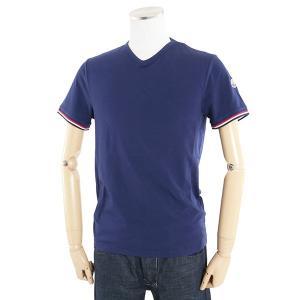 MONCLER モンクレール 8100800 SlimFit スリムフィット Vネック 半袖 Tシャツ ストレッチ カットソー カラー783/ネイビーブルー 24840メンズ