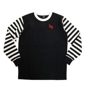 Deus Ex Machina デウスエクスマキナ DMP61980 Bonaru Tee クルーネック 長袖Tシャツ カットソー ロンT ポケT 刺繍 ボーダー カラーBLACK/ブラック|s-musee