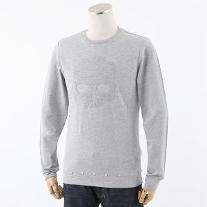 HYDROGEN ハイドロゲン 214152 STUDS T-SHIRT LS スタッズ 長袖Tシャツ ロングスリーブカットソー スカル カラー015/GREY-MELANGE 25920|s-musee