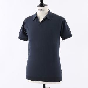 //JOHN SMEDLEY ジョンスメドレー NOAH STANDARD FIT シーアイランドコットン 半袖 スキッパー ポロシャツ ニット セーター カラーNAVY メンズ|s-musee