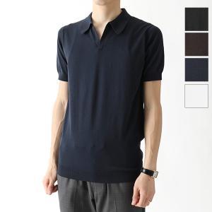 //JOHN SMEDLEY ジョンスメドレー NOAH STANDARD FIT シーアイランドコットン 半袖 スキッパー ポロシャツ ニット セーター カラーBLACK メンズ|s-musee