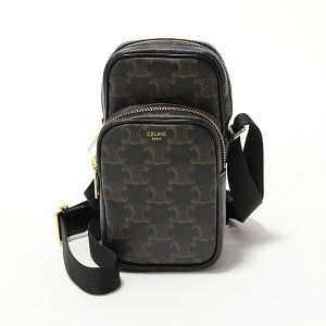 CELINE セリーヌ 190832BSZ.38NO Mini Pocket トリオンフ柄 レザー ショルダーバッグ ポシェット Black メンズ|s-musee