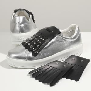 PRADA プラダ 1E142H 30N8 F0Q07 メタリックレザー ローカット スニーカー フリンジ スタッズ装飾 シューズ 靴 レディース|s-musee