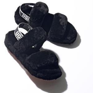 UGG アグ 1107953 W OH YEAH オー イヤー ファー サンダル ロゴバンド スリッパ 靴 BLACK レディース|s-musee