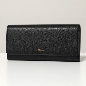 Mulberry マルベリー RL4440 205 Continental Wallet レザー 二つ折り長財布 財布 ロゴ A100/Black レディース|s-musee