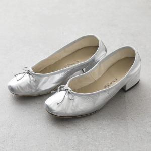 PORSELLI ポルセリ DE LAMINATO ラミネート イタリア製 バレエ 3cmヒール バレエシューズ パンプス リボン ラウンドトゥ SILVER 靴 レディース|s-musee