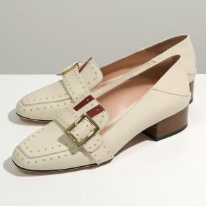 BALLY バリー JANELLE 30 TRUNK 08 レザー ローファー シューズ アーモンドトゥ バックル スタッズ ストライプ 靴 レディース|s-musee