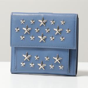 Jimmy Choo ジミーチュウ FRIDA CST スタースタッズ装飾 レザー 二つ折り財布 ミディアム財布 STONE-BLUE レディース|s-musee