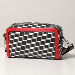 PIERRE HARDY ピエールアルディ ショルダーバッグ レディース SV05 BLACK-WHITE-RED CUBE BOX CAMERA BAG カメラ バッグ PVC×レザー ポシェット 鞄|s-musee