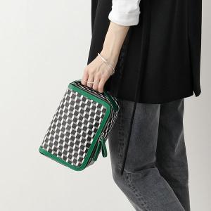 PIERRE HARDY ピエールアルディ ポーチ レディース EW03 BLACK-WHITE-GREEN DOP KIT キューブ アメニティポーチ PVC×レザー ポーチ ハンドバッグ 鞄|s-musee