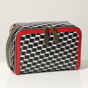 PIERRE HARDY ピエールアルディ ポーチ レディース EW03 BLACK-KAKHI-RED DOP KIT キューブ アメニティポーチ PVC×レザー ポーチ ハンドバッグ 鞄|s-musee