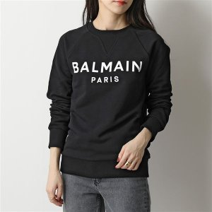 BALMAIN バルマン クルーネック スウェット レディース WH1JQ005 B115 スウェットシャツ ロゴ コットン EAB/NOIR|s-musee