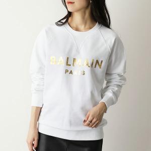 BALMAIN バルマン クルーネック スウェット レディース WH1JQ005 B122 スウェットシャツ ロゴ 箔プリント コットン GAD/BLAN|s-musee