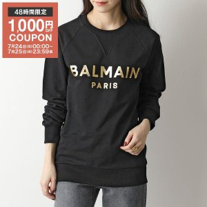 BALMAIN バルマン クルーネック スウェット レディース WH1JQ005 B122 スウェットシャツ ロゴ 箔プリント コットン EAD/NOIR|s-musee