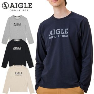エーグル AIGLE ロゴプリントロングスリーブ Tシャツ 長袖 メンズ ZTH022J 吸水速乾|s-puresuto