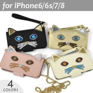 3021457be2 iPhone6 ケース/iPhone6s ケース/iPhone7 ケース/iPhone8 ケース/フェイクレザー 猫 パッチ ...