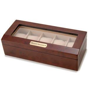 時計収納ケース 腕時計時計コレクションケース ディスプレイケース 木製 ブラウン 5本用 時計雑貨|s-select