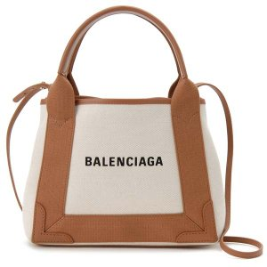 バレンシアガ BALENCIAGA トートバッグ 390346 AQ38N 2381 NAVY CABAS XS AJ キャンバス ライトブラウン 【送料無料】|s-select