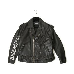 バレンシアガ BALENCIAGA ライダースジャケット 518082 TYH15 1000 36/38 ペイント バイカー ジャケット 革ジャン ユニセックス (メンズ レディース)|s-select