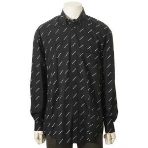 バレンシアガ BALENCIAGA シャツ メンズ 534333TBL961070 コットン100% ロゴ カジュアルシャツ ブラック|s-select