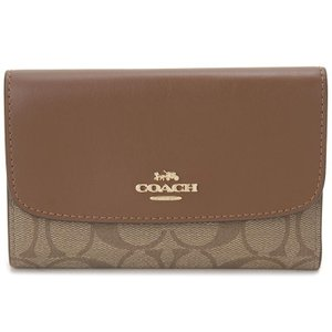 コーチ COACH 三つ折り財布 F32485 IME74 コンパクト財布 カーキ×ブラウン レディース|s-select