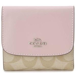 COACH コーチ 三つ折り財布 F87589 SVOSA シグネチャー ライトカーキ×ピンク レディース 財布|s-select