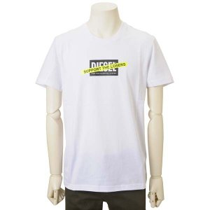 サマークリアランス ディーゼル DIESEL Tシャツ 半袖 メンズ ホワイト 白 DSA017690HAYU100 T-DIEGOS-A3|s-select