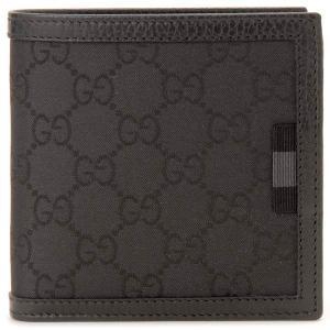 クリアランスセール グッチ GUCCI (アウトレット) 二つ折り財布 メンズ ブラック 150413 G1XWN 8615 GGナイロン×レザー|s-select