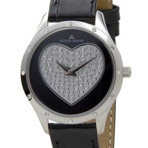 令和セール ジャックルマン JACQUES LEMANS 腕時計 1-1803A ROME 32mm ローマ ハート スワロフスキー ブラック レディース 新品|s-select