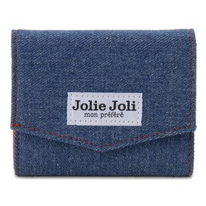 Jolie Joli ジョリージョリ コンパクト三つ折り財布 2017902-011 デニム レディース 財布 ブルー×レッド|s-select