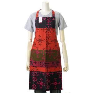 マリメッコ Marimekko エプロン 66878 RUKKI APRON 390 ルッキ レッド キッチン雑貨 かわいいエプロン|s-select