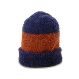 マリメッコ Marimekko ニット帽 41613-250 ニット モコモコ ニットキャップ オレンジ/ブルー メンズ レディース ブランド|s-select