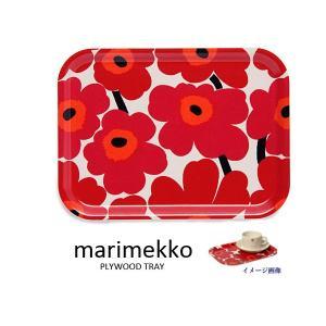 マリメッコ Marimekko プライウッド トレー小 64863-001 UNIKKO ウニッコ オイルクロス ホワイト×レッド ブランド|s-select
