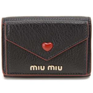 ミュウミュウ MIU MIU 三つ折り財布 レディース ブラック 黒 5MH021 2BC3 F0002 HEART MINI ハート ミニ|s-select