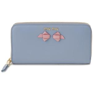 ミュウミュウ MIU MIU ラウンドファスナー 長財布 5ML506 UEI F0406 本革 リボン 財布 ブルー レディース|s-select