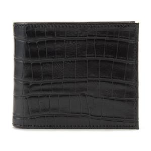 monte SPIGA モンテスピガ 二つ折り財布 MOSQS371ABK クロコ型押し ブラック メンズ|s-select