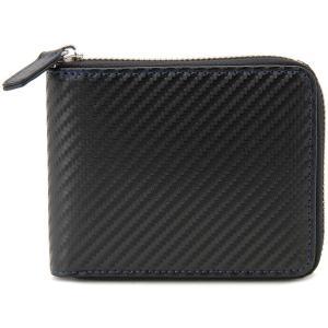 monte SPIGA モンテスピガ 二つ折り財布 MOSQS553CBKBL カーボン調 ブラック×ブルー メンズ|s-select