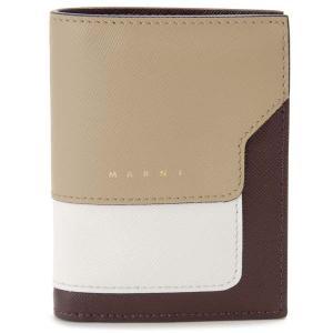 マルニ MARNI 二つ折り財布 コンパクト財布 ベージュ×ホワイト×ブラック レディース|s-select
