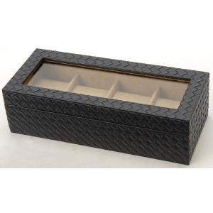 時計収納ケース ウォッチケース MSBOX4 メッシュ型押し 4本収納時計ケース コレクションボックス 時計雑貨|s-select