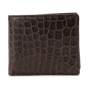 ワニ革 アリゲーター 二つ折り財布 OKU072 NEMT ブラウン 送料無料|s-select