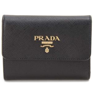 プラダ 三つ折り財布 レディース サフィアーノ ブラック 1MH025-QWA-F0002 コンパクト 財布 s-select