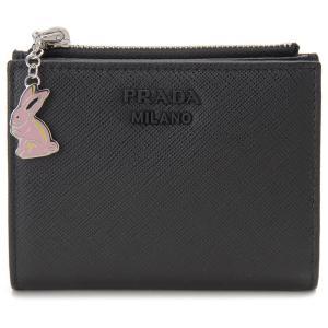 プラダ PRADA 二つ折り財布 1ML023 2CHR F0002 サフィアーノ ラビット コンパクト 財布 NERO ネロ ブラック 【送料無料】|s-select