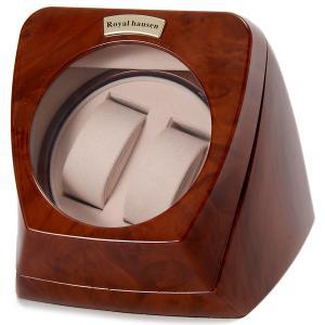 Royal hausen ロイヤルハウゼン ウォッチワインダー ワインディングマシーン 2本巻き RH003 木目調 ウォッチケース 腕時計ケース ワインダー 2年保証|s-select