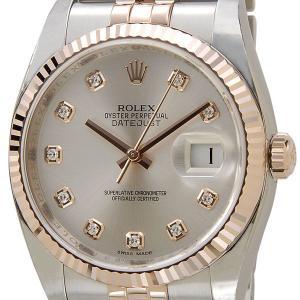 ロレックス ROLEX 116231 G-SV デイジャスト ダイヤモンド10P シルバー×ピンクゴールド メンズ 腕時計 ブランド